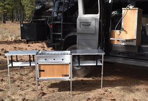 removable van kitchen with sink and 2 burner stove
