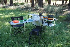 Add a table from Trail Kitchens. Compact, mounts anywhere, inside or out