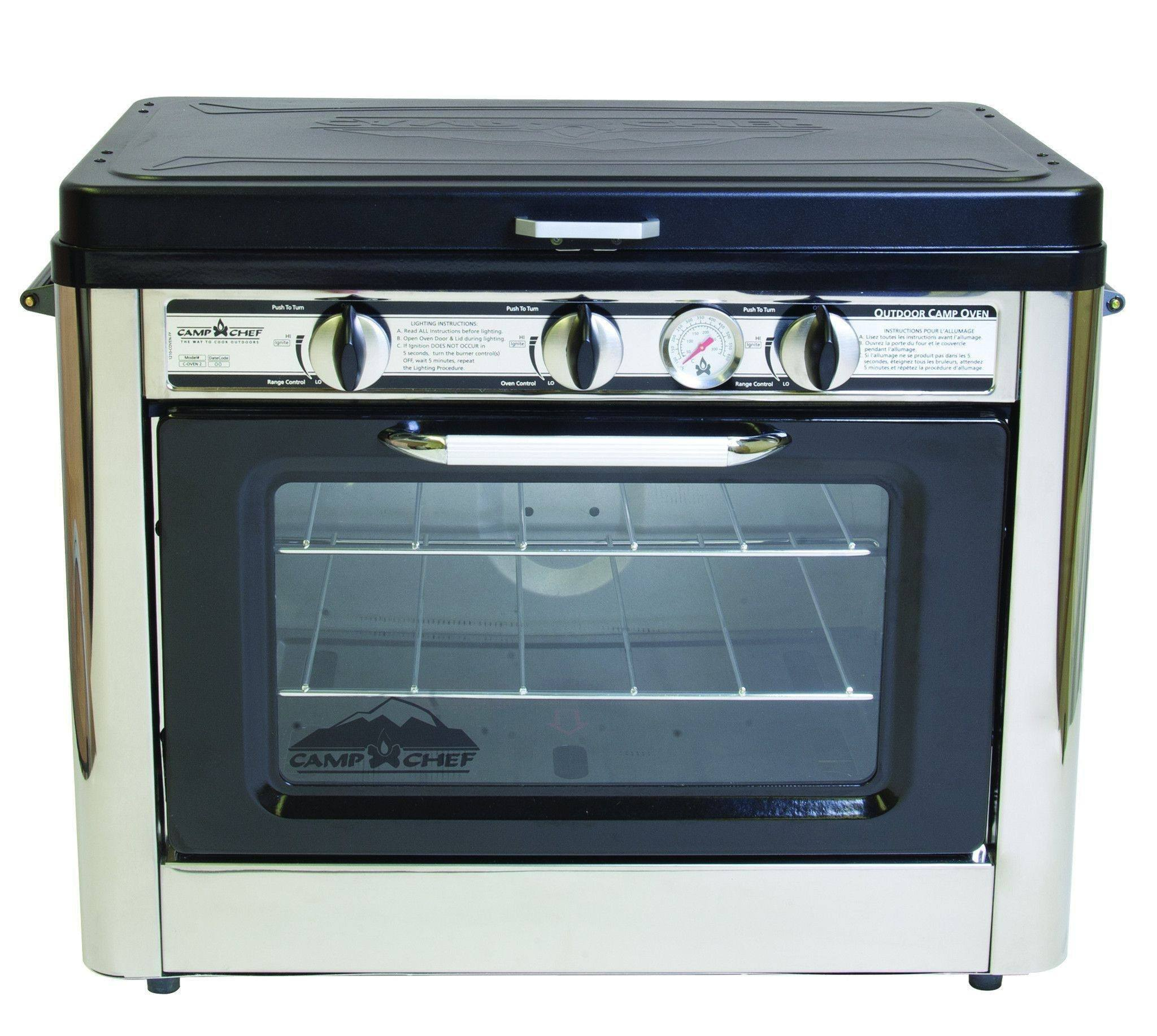 Camp Chef Deluxe Outdoor Oven with 2 Burner Camping Stove Trail