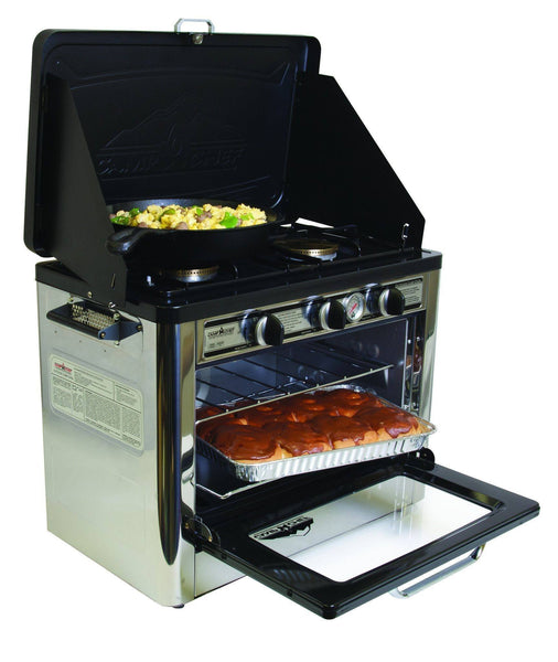 camp chef deluxe outdoor oven with 2 burner camping stove. Black Bedroom Furniture Sets. Home Design Ideas