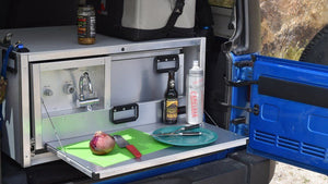 jeep camping system with fold down food prep table