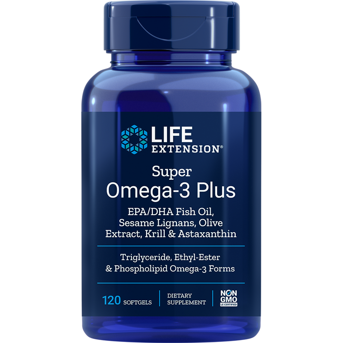 Super Omega-3 Plus EPA/DHA with Sesame Lignans, Olive Extract, Krill, & Astaxanthin (120 Softgels)