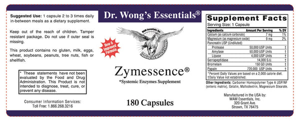 Dr. Wong's Essentials Zymessence Systemic Enzymes Supplement Label