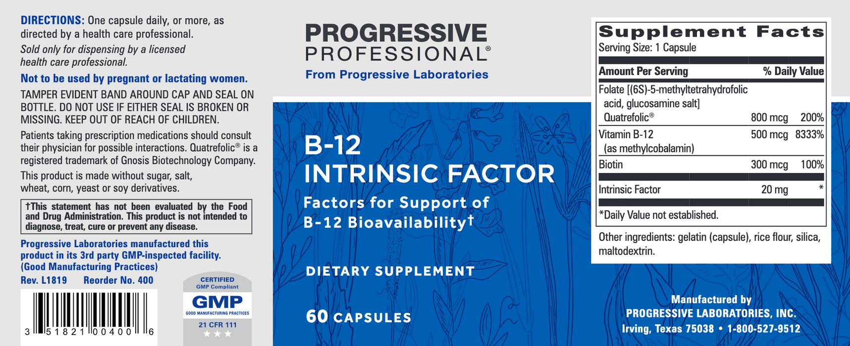 B-12 Intrinsic Factor (60 Capsules)