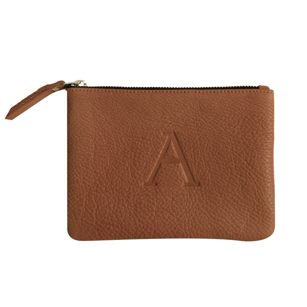 Cognac - Small Monogram Leather Pouch