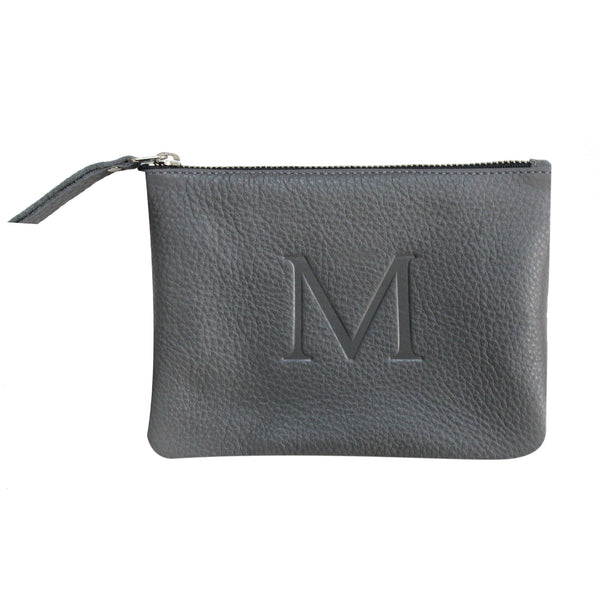 Grey - Small Monogram Leather Pouch