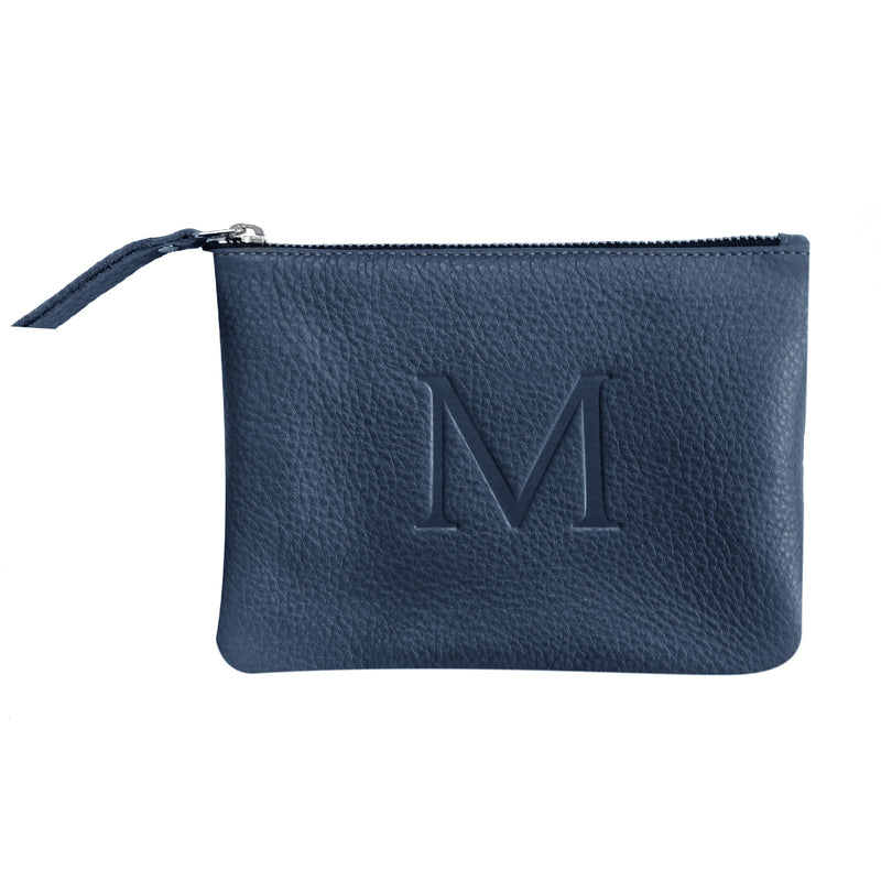 Navy - Small Monogram Leather Pouch