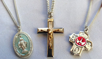 Miraculous Medal, 4-Way Medal and Crucifix Necklaces in Sterling Silver