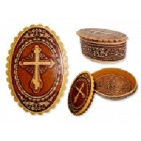 Oval Birch Wood Rosary Box
