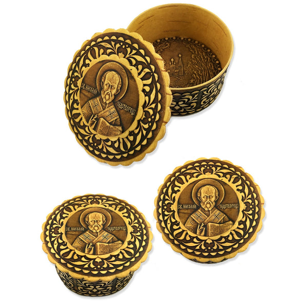 Birch Wood Rosary Box with St. Nicholas Image