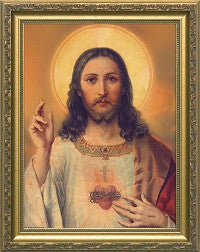 Antique Sacred Heart of Jesus in a Gold Frame