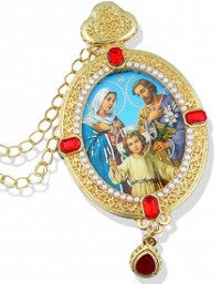 Holy Family Pearl Trim Christmas Ornament