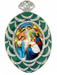 Madonna and Child with Angels Christmas Ornament-Green Enamel and Rhinestone Frame