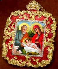 Holy Family Christmas Ornament-Red Enameled and Gold Frame