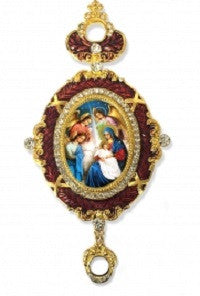 Madonna and Child with Angels Christmas Ornament-Red Enamel and Rhinestone Frame