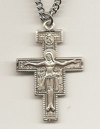 "Sterling San Damiano Crucifix - 24"" Chain"