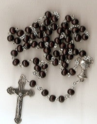First Communion Rosary - Boy's Dark Brown Wood Beads