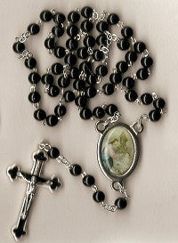 First Communion Rosary - Boy's Black Beads with Matching Lapel Pin