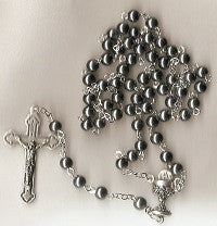 First Communion Rosary - Boy's Hemetite Beads