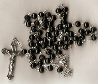 First Communion Rosary - Boy's Black Wood Beads
