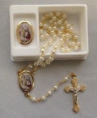 First Communion Rosary - Girl's Pearl Beads with Matching Pin