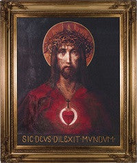 """For God So Loved the World"" Sacred Heart of Jesus on Canvas"