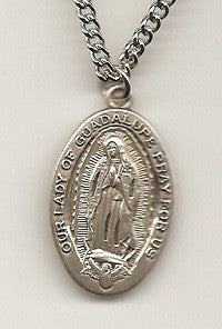 "Guadalupe Sterling Medal on a 24"" Chain"
