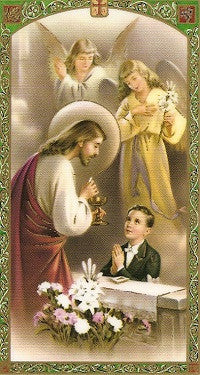 Communion Prayer with Boy or Girl Pictured - First Holy Communion Holy Card