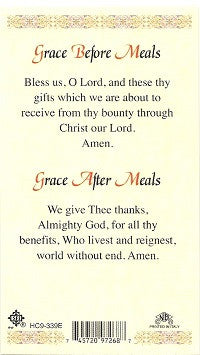 Grace Before and After meals Holy Card