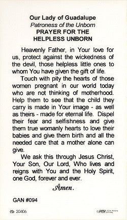 Our Lady of Guadalupe - Pro Life Holy Card