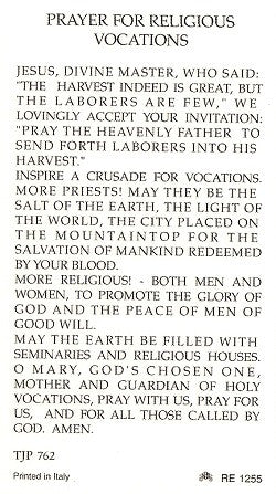 Prayer for Religious Vocations Holy Card
