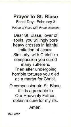 St. Blase Holy Card