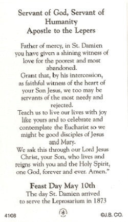 St. Damian of Molokai Holy Card