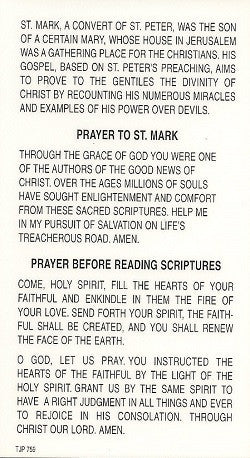 St. Mark the Evangelist Holy Card
