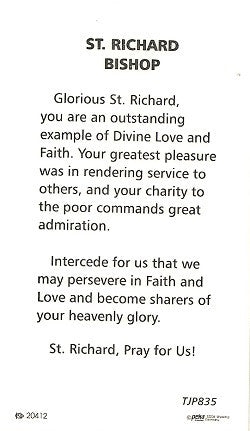 St. Richard, Bishop Holy Card