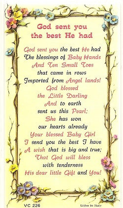 God Sent You the Best He Had Verse Holy Card