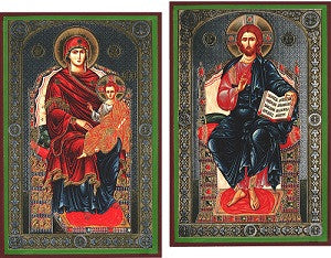 Enthroned Virgin Mary and Christ Icon Set