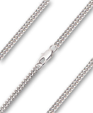 Heavy Curb Chain - Rhodium Plated, Lobster Claw Closure
