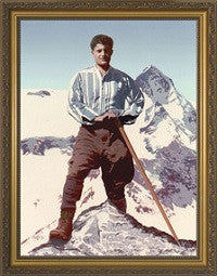 Blessed Pier Giorgio Frassati (on Mountain) in Gold Frame