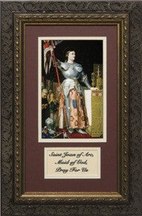 St. Joan of Arc with Prayer in a Dark Ornate Frame