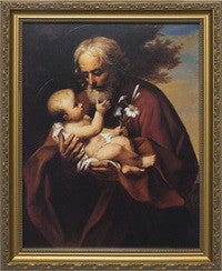 St. Joseph (Older) with Jesus in Gold Frame
