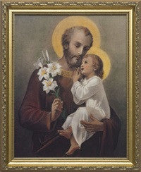 St. Joseph (Younger) with Jesus in Gold Frame