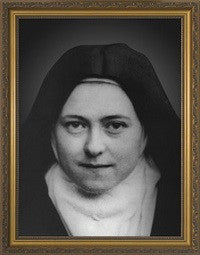 St. Therese of Lisieux Black and White Photograph in Gold Frame