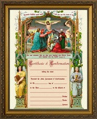 Confirmation Certificate with Crucifixion Scene, Cherry or Gold Frame