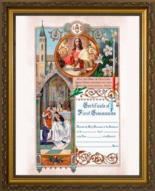 "First Holy Communion Certificate, with ""IHS"" in Cherry or Gold Frame"