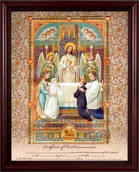 First Holy Communion Certificate, Jesus and Children, Cherry or Gold Frame
