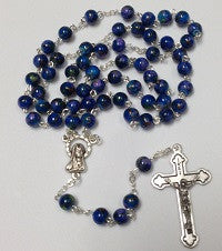 Blue Marbled Rosary Beads