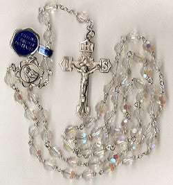 Aurora Borealis Crystal Rosary with Sterling Center and Crucifix