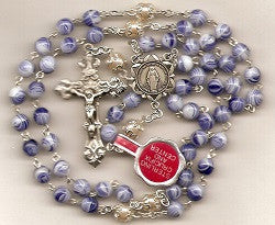 Blue Swirl Glass Beads with Sterling Center and Crucifix