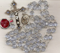 Blue Crystal Rosary with Sterling Center and Crucifix